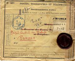 1966- Env. PTT N°467 Recommandation D'Office  De Bordeaux  Pour Paris Avec  4 Sceaux P T T - Postmark Collection (Covers)