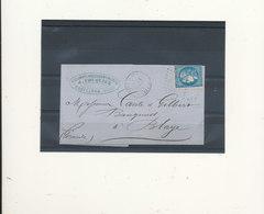 N°45 BLEU FONCE SUR LETTRE - 1870 Bordeaux Printing