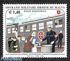 Souvereign Order Of Malta 2008 Terremoto Calabro Siculo 1v, (Mint NH), Railways - Food & Drink - Food