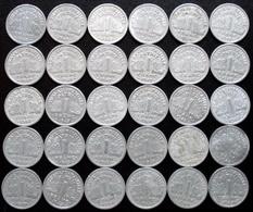 France - 1 Franc Bazor Aluminium 1942 1943 1944 1944 C Lot 30 Pièces De Monnaie - Francia