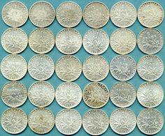 France - 1 Franc Semeuse Argent 1898 à 1919 Lot 30 Pièces De Monnaie - H. 1 Franco