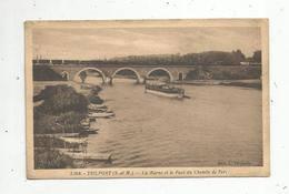 Cp , 77 ,  TRILPORT ,la Marne Et Le Pont De Chemin De Fer ,train,bateaux ,péniches ,voyagée 1935 - France