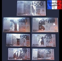Set Complet De 7 Billets Plaqués ARGENT ( SILVER Plated Banknotes ) - Euros - Private Proofs / Unofficial