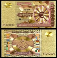 1 Billet Plaqué OR Couleur ( Color GOLD Plated Banknote ) - Europe 1 000 000 Euros One Million Euro ( A ) - EURO