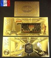 1 Billet Plaqué OR Couleur + Certificat ! ( Color GOLD Plated Banknote ) - Football France Coupe Du Monde 2018 - Russia