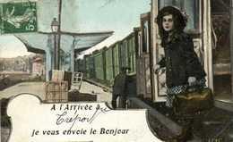 Fantaisie A L'Arrivée à Treport Je Vous Envoie Le Bonjour Gare Train RV AQUA  PHOTO - Le Treport