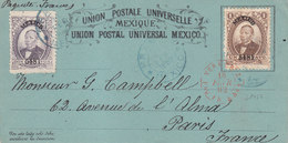 "Maritime Mexique Carte Postale UPU De Mexico Tad ""veracruz Paq Fr B N°1"" En Rouge 1882 Tad Bleu ""Franco Mexico"" - Poststempel (Briefe)"