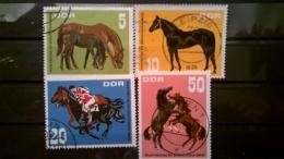 FRANCOBOLLI STAMPS GERMANIA DEUTSCHE DDR 1967 USED SERIE COMPLETA HORSES GERMANY - Usati