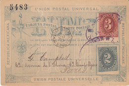 "Maritime Mexique Carte Postale UPU De Mexico Tad ""veracruz Paq Fr B N°2"" En Noir 1883 - Poststempel (Briefe)"