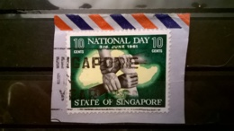 FRANCOBOLLI STAMPS SINGAPORE 1961 USED SU FRAMMENTO ANNIVERSARY ANNULLO SINGAPORE FRAGMENT - Singapore (1959-...)