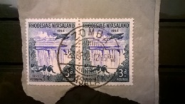 FRANCOBOLLI STAMPS RHODESIA NYASALAND 1955 USED SU FRAMMENTO VICTORIA FALLS ANNULLO ZOMBA FRAGMENT - Rhodesia & Nyasaland (1954-1963)