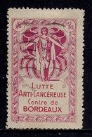 BORDEAUX * 33 *  LUTTE ANTI CANCEREUSE  *  CENTRE DE BORDEAUX  * - Commemorative Labels