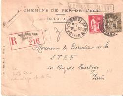 Lettre Recommandée De CHALONS SUR MARNE à Coté Griffe Gare CHALONS S/ MARNE - Postmark Collection (Covers)