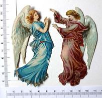 2 CHROMOS DECOUPIS GAUFRES....ANGES - Angels