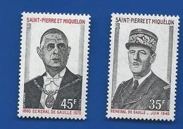 Timbre Général De Gaulle  SAINT PIERRE ET MIQUELON  N° 419/420 Neufs - De Gaulle (General)