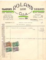 Factuur Facture - Transports Roland Léon - Soignies 1951 - Unclassified