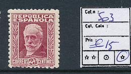 SPAIN YVERT 503 LH - 1931-Aujourd'hui: II. République - ....Juan Carlos I