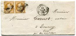 AISNE De VILLERS COTTERETS LAC Du 16/02/1862 Avec N°13 En Paire Oblitérés PC 3634 - Postmark Collection (Covers)