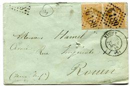 ALLIER De VICHY Env. Du 26/08/1869 Avec N°28 En Paire Oblitérés GC 4189 - Marcophilie (Lettres)