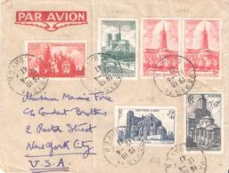 Série Des Cathédrales 1947 (Yvert N°772/776) Sur Lettre Recommandée Pour Les Etats Unis - Marcophilie (Lettres)