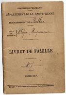 LIVRET DE FAMILLE 87 BELLAC     1896   MARIAGE ENTRE BARLIER ALEXANDRE ET BARBARIN LEONIE - Vieux Papiers