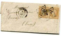EURE De GAMILLY LAC Du 9/12/1867 Avec N°21 En Paire Oblitérés GC 4152+ Dateur T 15 De VERNON - 1849-1876: Classic Period