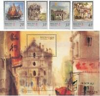 1997 Macau/Macao Painting View Junk Stamps & S/s- Visit Macau, Seen By Kowk Se Sailboat Ship Architecture - Art