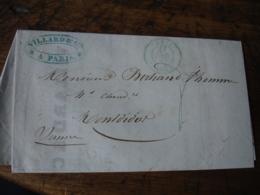 1847 Cachet Couleur Vert   Type 15 Sur Lettre Facture - Marcophilie (Lettres)