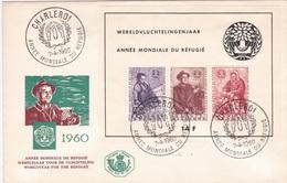 FDC Aus Belgien -ANNÈE MONDIALE DU RÉFUGIÉ- Aus Charleroi - 1951-60