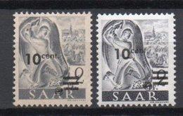 - SARRE N° 216A Neuf * - 10 C. S. 2 P. Gris 1947 - PAPIER JAUNÂTRE - Signé Maison GUY - Cote 50 EUR - - 1947-56 Allierte Besetzung