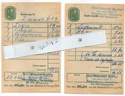 2 FACTURES KONIGSWINTER HOTEL RESTAURANT JAGERHOF 1962 - Sports & Tourism