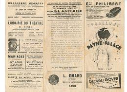 PROGRAMME PATHE PALACE Cinema Publicité ARLETTY BOLERO LYON Brasserie Georges La Gauloise 69 - Programmes
