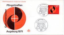 """BRD Schmuck-FDC  """"Okumenisches Pfinggstreffen, Augsburg 1971"""", Mi. 679 ESSt 28.5.1971 BONN 1 - BRD"""