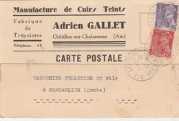 Carte Commerciale 1939 / Adrien GALLET / Manufacture Cuirs Teints / 01 Châtillon Sur Chalaronne - Maps