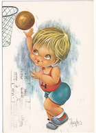 BASKETBALL BOY - (Vintage Big Eyed Boy Postcard By Hugeles) - (1970, Holland) - Basketbal