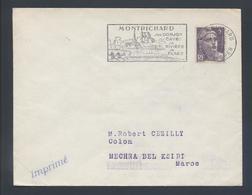 Flamme Montrichard Loir Et Cher 1953 Son Donjon Ses Caves Sa Rivière Plage 883 Gandon Seul Tarif 5F Imprimé Pour Maroc - Postmark Collection (Covers)