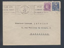 Flamme Paris 83 Rue Bleue 1947 Pour Vos Congés Payés Tourisme Et Travail 718A Gandon 679 Mazelin Tarif 6F - Postmark Collection (Covers)