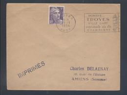 Flamme Troyes Aube 1954 Visitez Troyes Ville D'Art Capitale De La Champagne 883 Gandon Seul Tarif 5F Imprimé - Postmark Collection (Covers)
