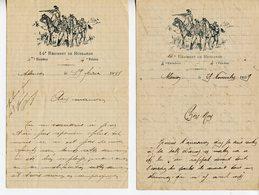 JOLI LOT DE 5 LETTRES A EN-TETE ILLUSTREE DU 14è HUSSARD 4è ESCADRON A ALENCON DE 1909 A 1911 - Documentos