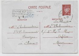1942 - TYPE PETAIN - CARTE ENTIER POSTAL 1F20 Avec SURTAXE AERIENNE PERCUE PARIS De 1F20 De BOURGES => SAFI (MAROC) - Cartes Postales Types Et TSC (avant 1995)