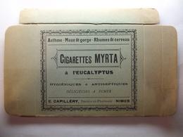 Boite De Cigarettes Myrta à L'Eucalyptus - Asthme - Maux De Gorge - Rhume De Cerveau  (Vide,Carton Pliée ) - Contenitori Di Tabacco (vuoti)