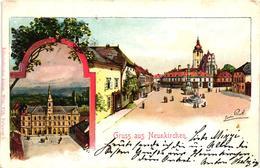 Austria, Niederösterreich, Neunkirchen, Square Scene, View, Old Postcard 1900 - Neunkirchen