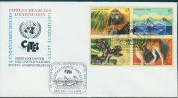 FDC ONU Vienne Wien 1999 Pélican Orang Outan Anaconda Carracal - FDC