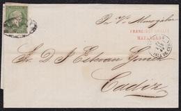 ANTILLAS. 1862. MATANZAS A CÁDIZ. 1 REAL VERDE Nº 8. MAT. PARRILLA COLONIAL. MNS. POR VAPOR ALMOGABAR. MARCA ENCAMINADOR - Cuba (1874-1898)