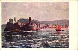 Slovenia, Piran, Pirano, View From The Sea, Adria Austellung With Mermaid Logo, Old Postcard 1913 - Slovenia