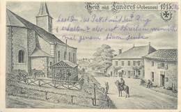 GRUSS AUS LANDRES 1915 - L'église, Carte Illustrée. - Andere Gemeenten