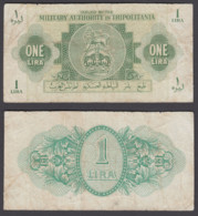 Libya 1 Lira 1943 (F) Condition Banknote P-M1 Tripolitania - Libya