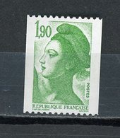 FRANCE -  1,90 Vert LIBERTÉ N° ROUGE AU DOS  -  N° Yvert 2426a** - 1982-90 Liberty Of Gandon