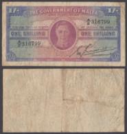 Malta 1 Shilling 1943 (F) Condition Banknote KGVI KM #16 - Malte