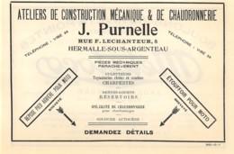 1927 - HERMALLE-sous-ARGENTEAU - Chaudronnerie - J. PURNELLE - Dim. 1/2 A4 - Werbung